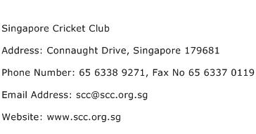 Singapore Cricket Club Address Contact Number