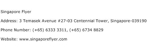 Singapore Flyer Address Contact Number