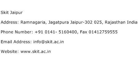 Skit Jaipur Address Contact Number