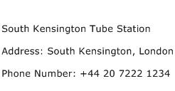 South Kensington Tube Station Address Contact Number
