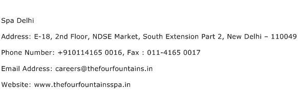 Spa Delhi Address Contact Number