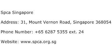 Spca Singapore Address Contact Number