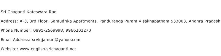 Sri Chaganti Koteswara Rao Address Contact Number