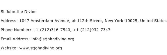 St John the Divine Address Contact Number