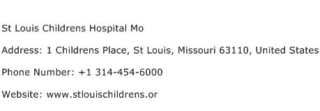 St Louis Childrens Hospital Mo Address Contact Number