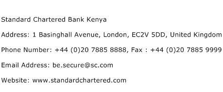 Standard Chartered Bank Kenya Address Contact Number