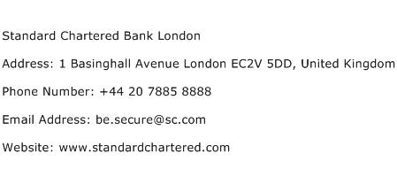 Standard Chartered Bank London Address Contact Number