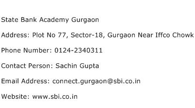 State Bank Academy Gurgaon Address Contact Number