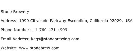 Stone Brewery Address Contact Number