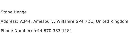 Stone Henge Address Contact Number