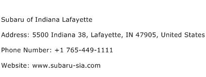 Subaru of indiana lafayette address contact number of for Indiana bureau of motor vehicles phone number