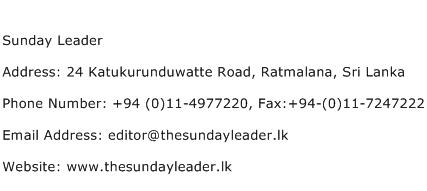 Sunday Leader Address Contact Number