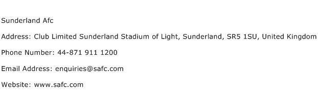 Sunderland Afc Address Contact Number