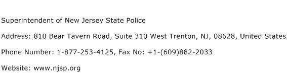 Superintendent of New Jersey State Police Address Contact Number