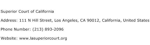 Superior Court of California Address Contact Number