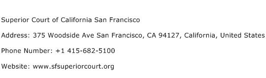 Superior Court of California San Francisco Address Contact Number