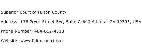Superior Court of Fulton County Address Contact Number