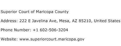 Superior Court of Maricopa County Address Contact Number