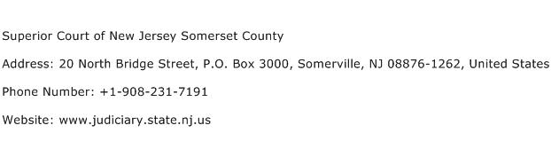 Superior Court of New Jersey Somerset County Address Contact Number