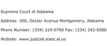Supreme Court of Alabama Address Contact Number