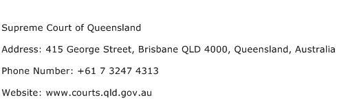 Supreme Court of Queensland Address Contact Number