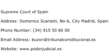 Supreme Court of Spain Address Contact Number