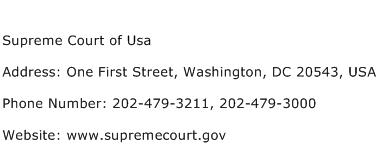 Supreme Court of Usa Address Contact Number