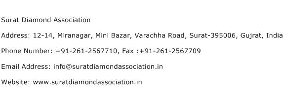 Surat Diamond Association Address Contact Number