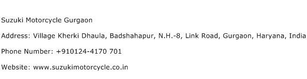 Suzuki Motorcycle Gurgaon Address Contact Number