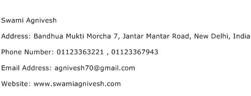 Swami Agnivesh Address Contact Number