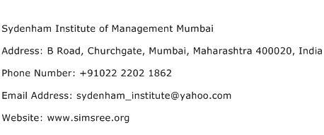 Sydenham Institute of Management Mumbai Address Contact Number