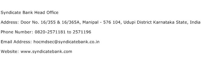 Syndicate Bank Head Office Address Contact Number