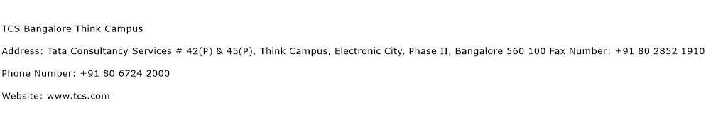 TCS Bangalore Think Campus Address Contact Number