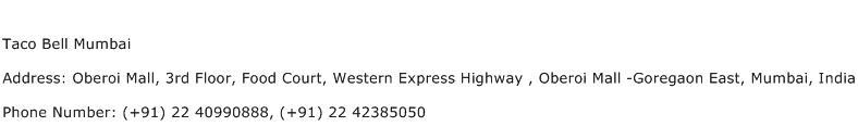 Taco Bell Mumbai Address Contact Number