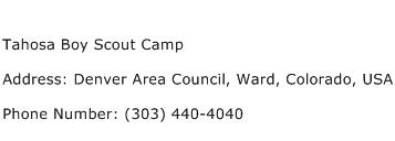 Tahosa Boy Scout Camp Address Contact Number
