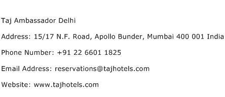 Taj Ambassador Delhi Address Contact Number