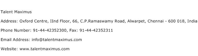 Talent Maximus Address Contact Number