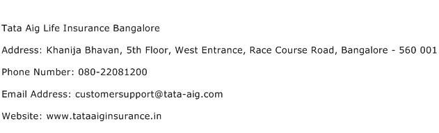 Tata Aig Life Insurance Bangalore Address Contact Number