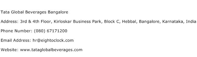 Tata Global Beverages Bangalore Address Contact Number