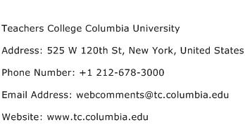 Teachers College Columbia University Address Contact Number