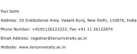 Teri Delhi Address Contact Number