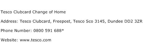 Tesco Clubcard Change of Home Address Contact Number