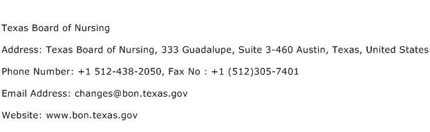 Texas Board of Nursing Address Contact Number