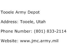 Tooele Army Depot Address Contact Number