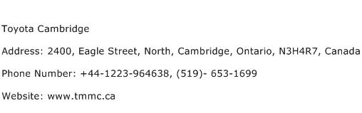 Toyota Cambridge Address Contact Number