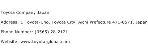 Toyota Company Japan Address Contact Number