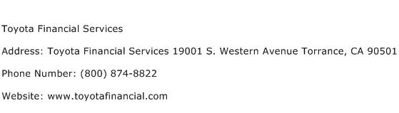 Toyota Financial Services Address Contact Number