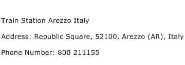 Train Station Arezzo Italy Address Contact Number