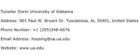 Tutwiler Dorm University of Alabama Address Contact Number
