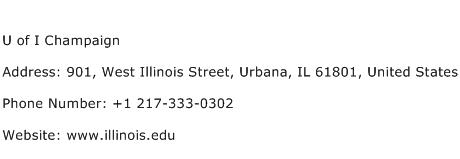 U of I Champaign Address Contact Number